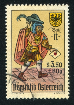 AUSTRIA - CIRCA 1967: stamp printed by Austria, shows Letter carrier from playing card, circa 1967