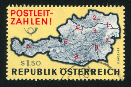 AUSTRIA - CIRCA 1966: stamp printed by Austria, shows Map of Austria with postal zone numbers, circa 1966 Stock Photo - 18329624