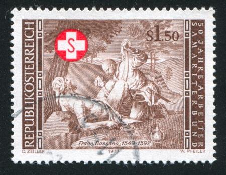 AUSTRIA - CIRCA 1977: stamp printed by Austria, shows The Good Samaritan by Francesco Bassano, circa 1977