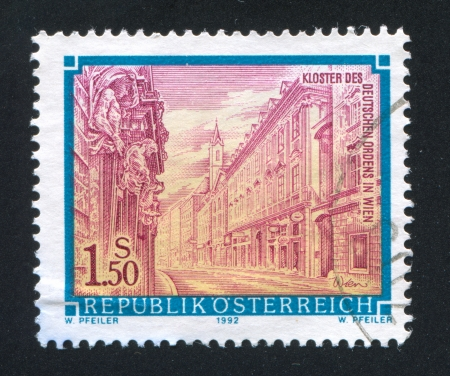 AUSTRIA - CIRCA 1992: stamp printed by Austria, shows Monastery of the German Order in Vienna, circa 1992 Stock Photo - 18329770