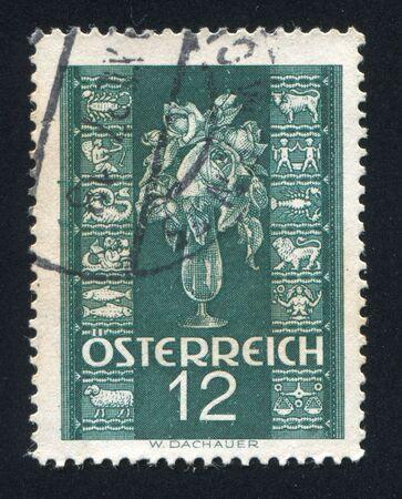AUSTRIA - CIRCA 1938: stamp printed by Austria, shows Rose and Zodiac signs, circa 1938