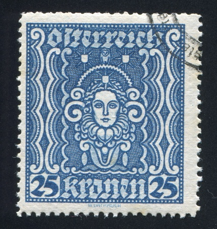 AUSTRIA - CIRCA 1922: stamp printed by Austria, shows ornament, Symbols of Art and Science, circa 1922 Stock Photo - 18329848