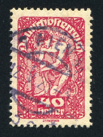 AUSTRIA - CIRCA 1919: stamp printed by Austria, shows Man and flower, circa 1919 Stock Photo - 18329940