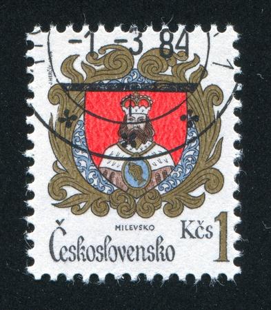 czechoslovakia: CZECHOSLOVAKIA - CIRCA 1984: stamp printed by Czechoslovakia, shows arms of Milevsko, circa 1984