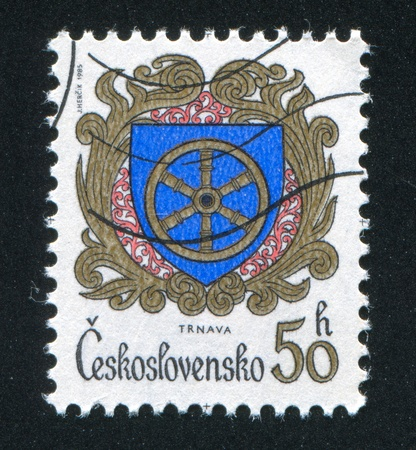 CZECHOSLOVAKIA - CIRCA 1985: stamp printed by Czechoslovakia, shows arms of Trnava, circa 1985
