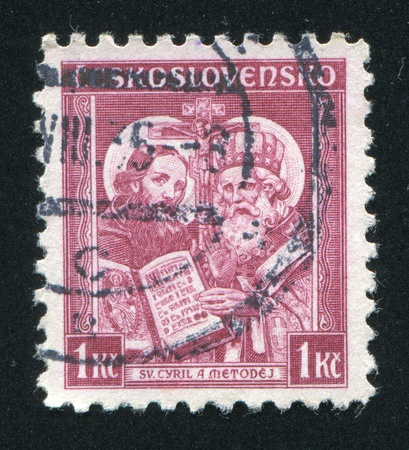 CZECHOSLOVAKIA - CIRCA 1935: stamp printed by Czechoslovakia, shows Saints Cyril and Methodius, circa 1935