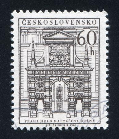 crown spire: CZECHOSLOVAKIA - CIRCA 1965: stamp printed by Czechoslovakia, shows Matthias Tower, circa 1965