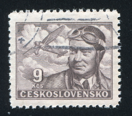 CZECHOSLOVAKIA - CIRCA 1947: stamp printed by Czechoslovakia, shows Capt. Frantisek Novak, circa 1947