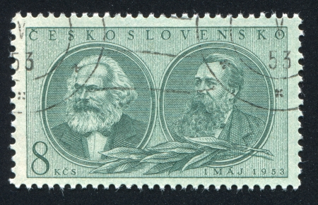 political economist: CZECHOSLOVAKIA - CIRCA 1953: stamp printed by Czechoslovakia, shows Marx and Engels, circa 1953 Editorial