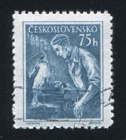 czechoslovakia: CZECHOSLOVAKIA - CIRCA 1954: stamp printed by Czechoslovakia, shows Lathe operator, circa 1954 Editorial