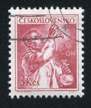 czechoslovakia: CZECHOSLOVAKIA - CIRCA 1954: stamp printed by Czechoslovakia, shows Chemist, circa 1954