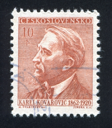 TSCHECHOSLOWAKEI - CIRCA 1962: Stempel von der Tschechoslowakei gedruckt, zeigt Karel Kovarovic, circa 1962 Standard-Bild - 18329867