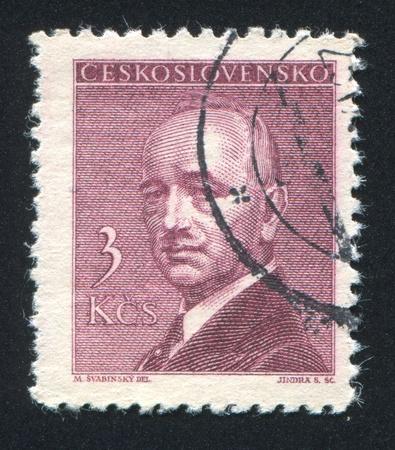 eduard: CZECHOSLOVAKIA - CIRCA 1946: stamp printed by Czechoslovakia, shows President Eduard Benes, circa 1946