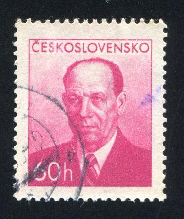 CZECHOSLOVAKIA - CIRCA 1953: stamp printed by Czechoslovakia, shows President Antonin Zapotocky, circa 1953 Stock Photo - 18329835