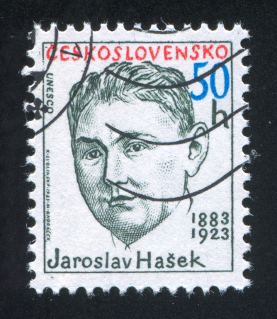 satirist: CZECHOSLOVAKIA - CIRCA 1983: stamp printed by Czechoslovakia, shows Jaroslav Hasek, writer, circa 1983