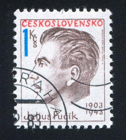 martyr: CZECHOSLOVAKIA - CIRCA 1983: stamp printed by Czechoslovakia, shows Julius Fucik, antifascist martyr, circa 1983