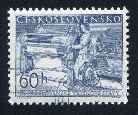 czechoslovakia: CZECHOSLOVAKIA - CIRCA 1955: stamp printed by Czechoslovakia, shows Textile worker, circa 1955