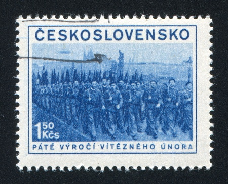 militia: CZECHOSLOVAKIA - CIRCA 1953: stamp printed by Czechoslovakia, shows Militia, circa 1953