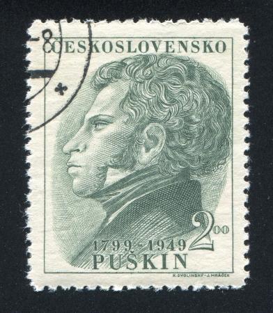 czechoslovakia: CZECHOSLOVAKIA - CIRCA 1949: stamp printed by Czechoslovakia, shows Aleksander Pushkin, circa 1949
