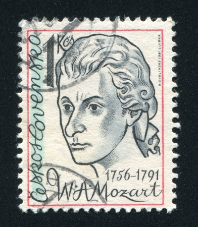 honouring: CZECHOSLOVAKIA - CIRCA 1981: stamp printed by Czechoslovakia, shows Wolfgang Amadeus Mozart, circa 1981