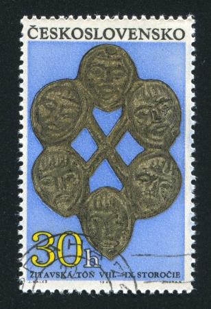 czechoslovakia: CZECHOSLOVAKIA - CIRCA 1969: stamp printed by Czechoslovakia, shows Gilt ornament with 6 masks, circa 1969