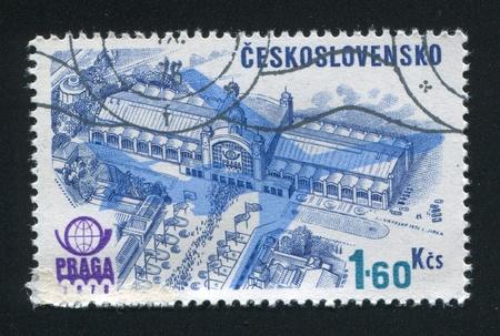 praga: CZECHOSLOVAKIA - CIRCA 1976: stamp printed by Czechoslovakia, shows Praga 1978 Emblem, Plane Silhouette and Congress Hall, circa 1976