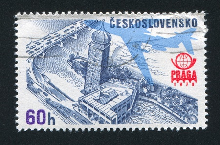 CZECHOSLOVAKIA - CIRCA 1976: stamp printed by Czechoslovakia, shows Praga 1978 Emblem, Plane Silhouette and Old Water Tower and Manes Hall, circa 1976