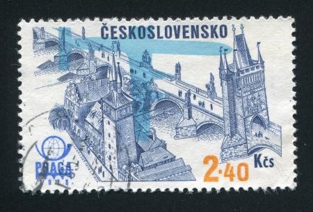 praga: CZECHOSLOVAKIA - CIRCA 1976: stamp printed by Czechoslovakia, shows Praga 1978 Emblem, Plane Silhouette and Charles Bridge and Old Bridge Tower, circa 1976