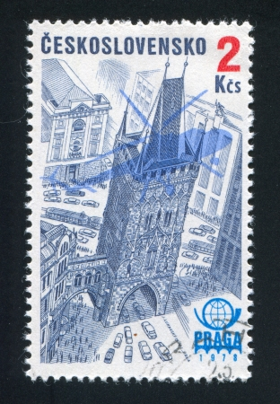 CZECHOSLOVAKIA - CIRCA 1976: stamp printed by Czechoslovakia, shows Praga 1978 Emblem, Plane Silhouette and Powder Tower, circa 1976