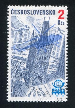 praga: CZECHOSLOVAKIA - CIRCA 1976: stamp printed by Czechoslovakia, shows Praga 1978 Emblem, Plane Silhouette and Powder Tower, circa 1976 Editorial