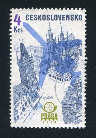 praga: CZECHOSLOVAKIA - CIRCA 1976: stamp printed by Czechoslovakia, shows Praga 1978 Emblem, Plane Silhouette and Old Town Hall on Old Town Square, circa 1976 Editorial