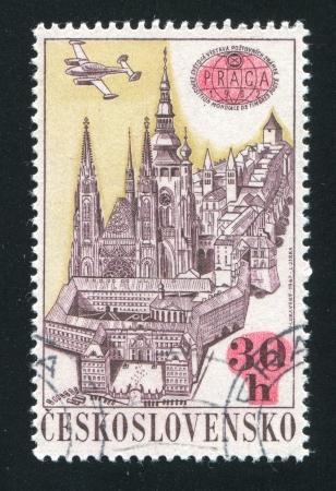 praga: CZECHOSLOVAKIA - CIRCA 1967: stamp printed by Czechoslovakia, shows PRAGA 1962 Emblem, View of Prague and Plane, circa 1967