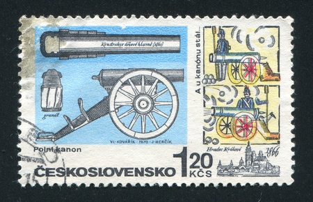 CZECHOSLOVAKIA - CIRCA 1970: stamp printed by Czechoslovakia, shows Cannon from Prussian-Austrian war, and legendary cannoneer Javurek, circa 1970