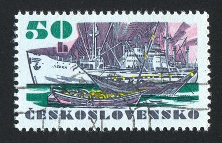 "czechoslovak: CZECHOSLOVAKIA - CIRCA 1972: stamp printed by Czechoslovakia, shows Czechoslovak sea-going vessel ""Jiskra"", circa 1972"