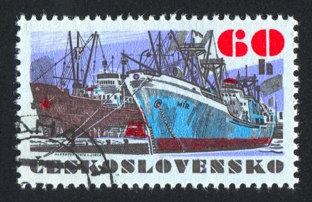 "czechoslovak: CZECHOSLOVAKIA - CIRCA 1972: stamp printed by Czechoslovakia, shows Czechoslovak sea-going vessel ""Mir"", circa 1972"