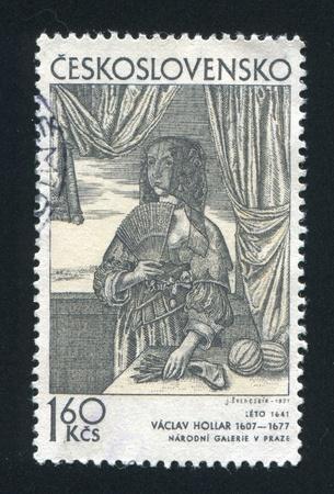 czechoslovakia: CZECHOSLOVAKIA - CIRCA 1971: stamp printed by Czechoslovakia, shows Summer, by Vaclav Hollar, circa 1971
