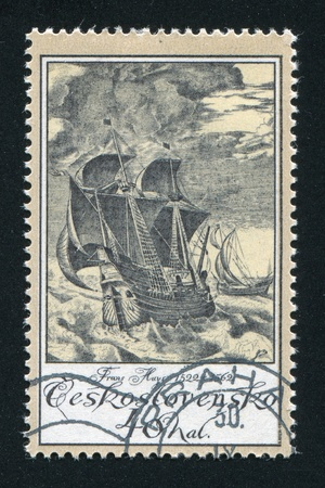 frans: CZECHOSLOVAKIA - CIRCA 1976: stamp printed by Czechoslovakia, shows Ships in Storm, by Frans Huys, circa 1976