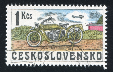 CZECHOSLOVAKIA - CIRCA 1975: stamp printed by Czechoslovakia, shows Motorcycle, ITAR, 1921, circa 1975