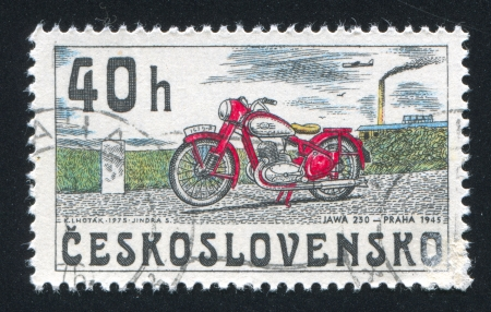 CZECHOSLOVAKIA - CIRCA 1975: stamp printed by Czechoslovakia, shows Motorcycle, Jawa 250, 1945, circa 1975