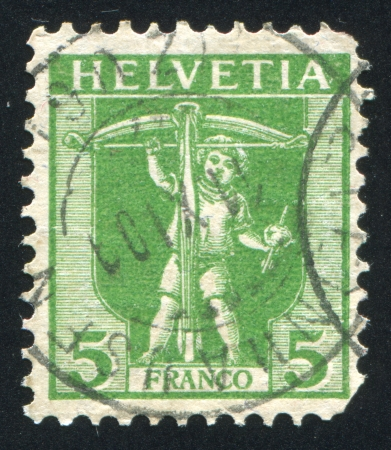 arbalest: SWITZERLAND - CIRCA 1909: stamp printed by Switzerland, shows William Tell's Son, circa 1909