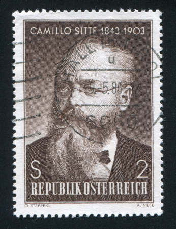camillo: AUSTRIA - CIRCA 1968: stamp printed by Austria, shows Camillo Sitte, circa 1968 Editorial