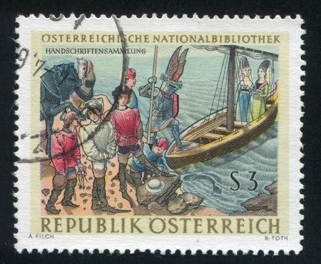 jackboot: AUSTRIA - CIRCA 1966: stamp printed by Austria, shows Illustration from Duke Rene, circa 1966