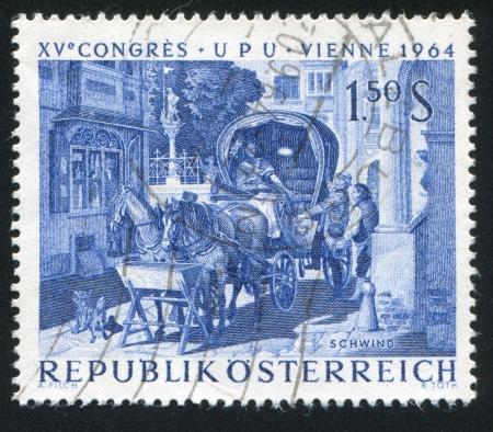 AUSTRIA - CIRCA 1964: stamp printed by Austria, shows The Honeymoon Trip, by Moritz von Schwind, circa 1964 Stock Photo - 18778113