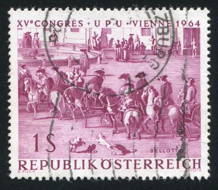 "AUSTRIA - CIRCA 1964: stamp printed by Austria, shows ""Bringing the News of Victory at Kunersdorf"" by Bernardo Bellotto, circa 1964"