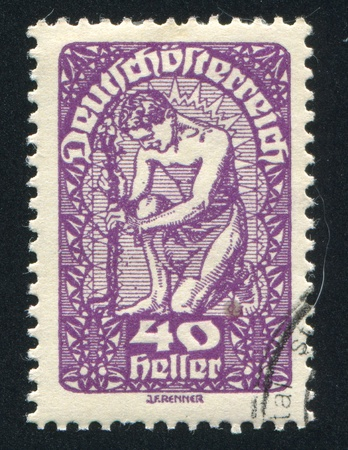 AUSTRIA - CIRCA 1919: stamp printed by Austria, shows Man and flower, circa 1919 Stock Photo - 18777770