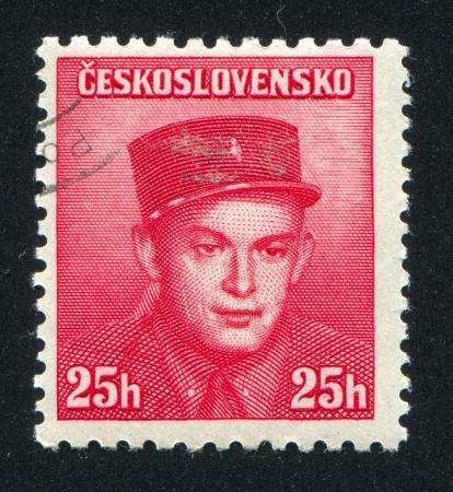 legion: CZECHOSLOVAKIA - CIRCA 1945: stamp printed by Czechoslovakia, shows Staff Capt. Stanislav Zimprich (Foreign Legion), circa 1945