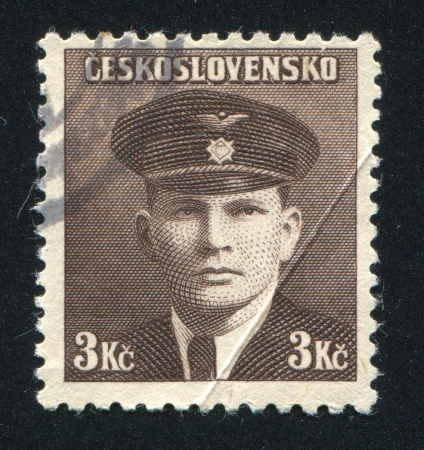 CZECHOSLOVAKIA - CIRCA 1945: stamp printed by Czechoslovakia, shows 2nd Lt. Jiri Kral (French Air Force), circa 1945