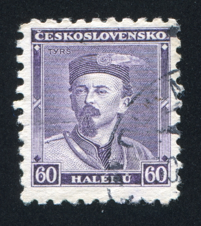 CZECHOSLOVAKIA - CIRCA 1932: stamp printed by Czechoslovakia, shows Miroslav Tyrs, circa 1932