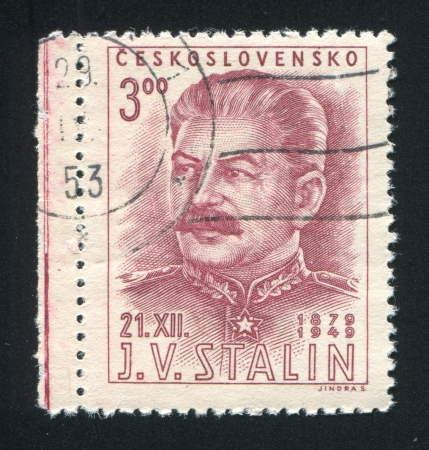 CZECHOSLOVAKIA - CIRCA 1949: stamp printed by Czechoslovakia, shows Joseph V. Stalin, circa 1949 Stock Photo - 18777911