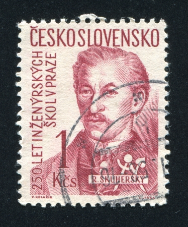 czechoslovakia: CZECHOSLOVAKIA - CIRCA 1957: stamp printed by Czechoslovakia, shows R. Skuhersky, circa 1957